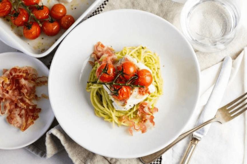 Hollandse Kabeljauwfilet met pancetta en pasta pesto